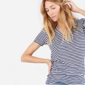 Everlane Striped Short Sleeve V-Neck Tee